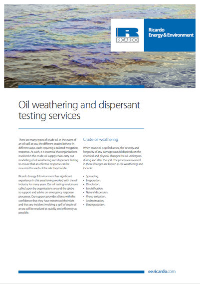 Oil weathering and dispersant testing capability statement